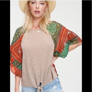 Tops - Coral and mint paisley contrast top